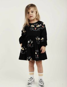 Cat Face Dress Black - Mini Rodini pre Spring collection