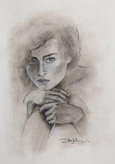 Charcoal portrait on canvas. #portraitdrawing #portrait #drawingportrait #charcoaldrawing #charcoalart #artworks