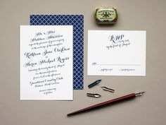 Calligraphy Wedding Invitation, navy blue weddings, calligraphy script invite