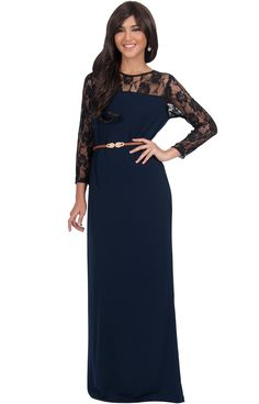 35108591c3523 KOH KOH Womens Long Long Sleeve Lace Slimming Tube Evening Cocktail with  Belt Party Semi Formal Sexy Designer Prom Vestido Apparel Maxi Dress Color  Navy ...