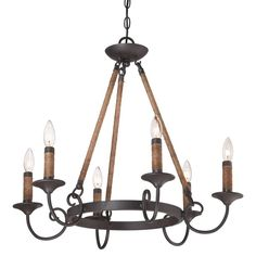 "Quoizel BDR5006IB Imperial Bronze Bandelier 6 Light 26"" Wide Candle Style Chandelier - LightingDirect.com"