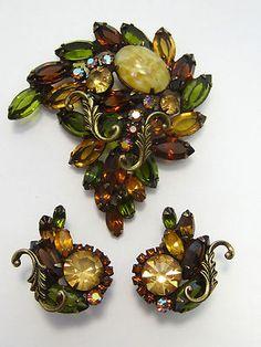 Juliana Dragon's Breath Olivine Topaz Amber Vintage Pin & Earrings