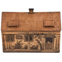 Antique Sycamore Tunbridge Ware Cottage Sewing Box For Sale Modern Decorative Boxes, Decorative Objects, Antique Wooden Boxes, Vintage Wood, Box Houses, Fairy Houses, Fabric Covered Boxes, Sewing Box, Sewing Tools