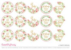 """Decorate your cupcakes with these beautiful 2"""" Floral Baby Shower Party Circles. See more party ideas and share yours at CatchMyParty.com"""