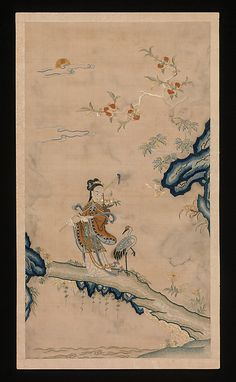 "Fairy and Crane, 18th century. Qing dynasty (1644–1911). China. The Metropolitan Museum of Art, New York. Rogers Fund, 1925 (25.59.1)  | This work is featured in our ""Painting with Threads"" exhibition, on view through March 29, 2015 #AsianArt100"