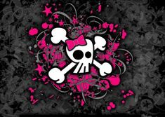 Girly Skull and Bones Greeting