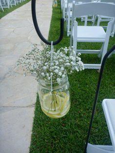 Yellow wedding outdoor decor.  #country #wedding #yellow #lemon.  I Like the metal hook idea