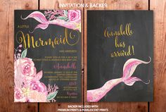 Mermaid Sip and See Invitation // Under the Sea by MerrimentPress Sip And See Invitations, Digital Invitations, Party Needs, Watercolor Invitations, Buy Buy Baby, New Baby Girls, Envelope Liners, Free Prints, Invitation Design