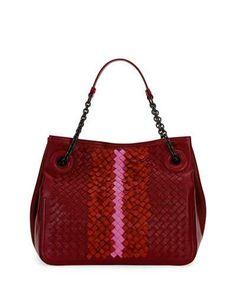 New V31LF Bottega Veneta Intrecciato Chain-Handle Tote Bag Wine Colorblock @ Price $3500 At:Neiman Marcus