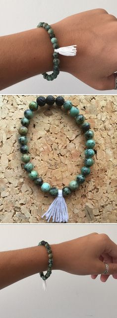 African turquoise wrist mala with essential oil diffusing beads and tassel