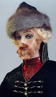 "Iliya (face close-up): Fantasy Dolls; Black Coat & Hat w/Black Fur Trim; X"" tall; Limited edition of X/Sold out"