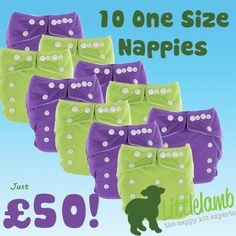 Little Lamb One Size Nappy- 10 Pack Bundle Deal. One of the best bargains in the reusable nappy world this year! Just £5 per nappy, in a range of lovely colours