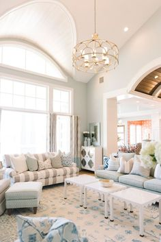 love the three small tables making a long coffee table. House of Turquoise: Dream Home Tour - Day One Living Room Designs, Living Room Decor, Living Spaces, Luxury Interior Design, Home Interior, Interior Paint, Dining Room Blue, House Of Turquoise, Room Paint Colors