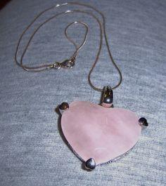 Rose Quartz Heart Shaped on Sterling Silver by OmCreationsjewels, $55.00