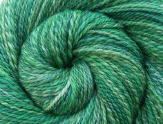 Handspun Yarn - FRESH GREENS - Hand painted Silk / Polwarth wool, Fingering weight, 414 yards