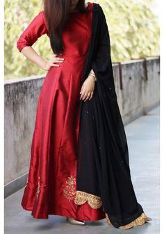 Red Black Embroidered Anarkali