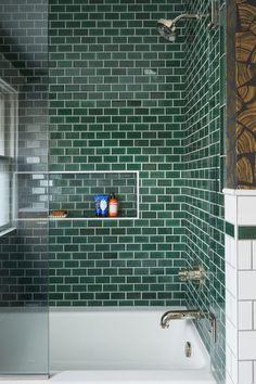 green tile powder room