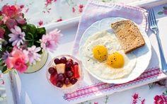 Wallpaper flowers, napkin, table, plate, tray, berries, scrambled eggs, bread, Breakfast