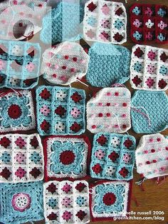 Gorgeous patterns and colors.  Crochet motifs.