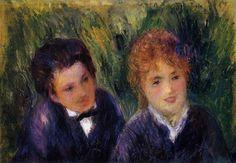 YOUNG MAN AND YOUNG WOMAN (1876) by Auguste Renoir | Impressionism | Oil on canvas | Musée de l'Orangerie, Paris, France
