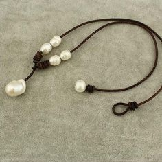 Baroque pearl leather necklacepearl leather by WangDesignJewelry
