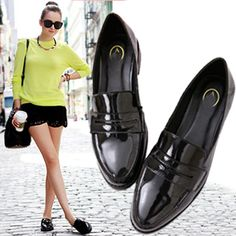 British Style Vintage Women Genuine Leather Shoes Pointed Toe Flats Shoes Women Oxford Shoes