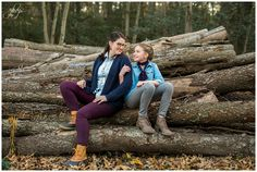 Janice Louise Photography | Delaware Family Photographer | Milford, Delaware | siblings, forest, woods, fall colors, leaves, logs, sweaters, mother, daughter