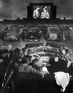 A drive-in movie theater in Los Angeles, 1949, photo by J.R.Eyerman