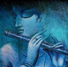 """Krishna"" by Ananda Das Acrylic On Canvas, Size(inches): 12X12"