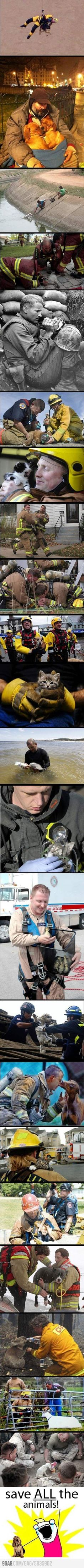Heros rescuing animals. Too sweet.