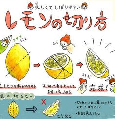 美しくてしぼりやすいレモンの切り方 #recipe #howto Food Art, Healthy Cooking, Cooking Tips, Healthy Drinks, Cooking Recipes, Cute Food, Good Food, Party Dishes, Merit Badge