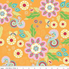 Riley Blake Madhuri Main Orange Fabric 1 yd by 5DaughtersQuilts, $9.95 Sew Pretty and they have coordinating solids, too!