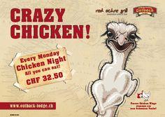 EM ist vorbei! Zurück zur normalität -> Monday =Crazy Chicken Night! All you can eat für CHF 32.50