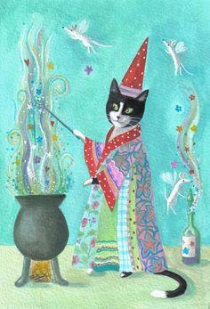 Magic Cat by Karen Davis (karendavis etsy)