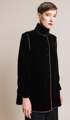 $2,495.00 | Sophie Hong Silk Blend Velvet Top in Black | Made in Taiwan