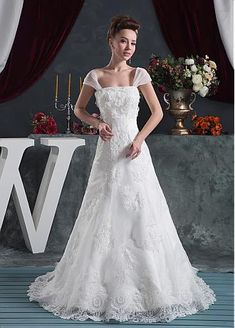 Fantastic Tulle & Lace Scoop Neckline A-line Wedding Dress With Lace Appliques & Beading - Adasbridal.com