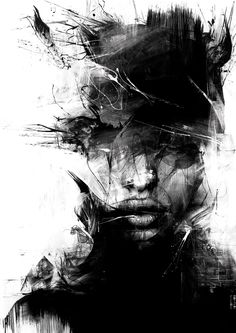 Russ Mills. Black and White. Painting