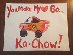 Pixar Cars Lightning McQueen valentine with footprint Ka-Chow! Perfect for pre-schooler or toddler! Great Gift for Daddy from Son