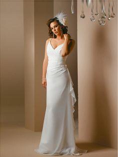 Beautiful A Line Spaghetti Straps Chiffon Wedding Dress