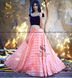 With just the right blend of Purple peech this SV swathi_veldandi outfit ensemble looks like a blushing beauty! Call / Watsapp : for details We can customize the colors and size as required Lehenga Gown, Lehnga Dress, Dress Skirt, Anarkali, Indian Dresses, Indian Outfits, Pakistani Outfits, Indian Attire, Indian Wear