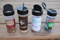 Once in a Family Fun magazine one mom wrote in and suggested you use an empty water bottle with screw on lid to hold colored pencils. We decided to use the same idea but recycle our empty spice containers and use them for travel Crayon holders.