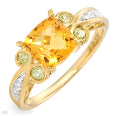 Gorgeous Brand New Ring With 1.87ctw Precious Stones - Genuine Citrine, Diamonds and Peridots in Two tone Gold- Size 7 We Can Resize from 0 to 0 - Certificate A citrine and peridot ring  I love the colors
