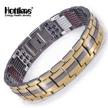 Hottime 591 PCS 4 In 1 Bio Elements Energy Stone Fashion Titanium Steel Magnetic Bracelet Never Fade Golden Men's Jewelry Mens Dress Watches, Mens Band Rings, Mens Chain Necklace, Chains For Men, Bangle Bracelets, Bangles, Men's Jewelry, Mens Fashion, Free Shipping