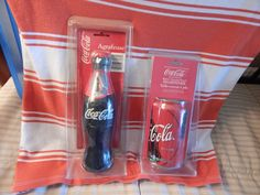 "New sealed in package Coca Cola Bottle shaped  stapler and can shape pencil sharpener, approx. 1998,orignal package.  USA product. approx. 4"" size of a regular can.   I believe top  portion of can comes off, store small pencils.  Vintage Collectors Item."
