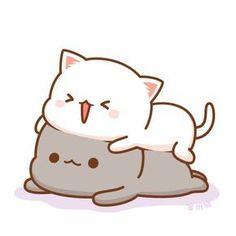 Barxa, my little devil I love you ❤️ Cute Bear Drawings, Cute Cat Drawing, Kawaii Drawings, Cute Kawaii Animals, Kawaii Cat, Chibi Cat, Cute Chibi, Cute Cartoon Images, Cute Cartoon Wallpapers