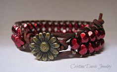 Leather Wrap Bracelet Beaded crimson by CristinaDavisJewelry, $32.50