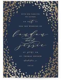 Cascading Corners Foil-Pressed Wedding Invitations #rusticweddings #rusticweddinginvitations #rusticweddinginspiration #blueweddinginvitations