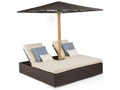 Caluco Mirabella Wicker Double Daybed Cushion with Woven Umbrella
