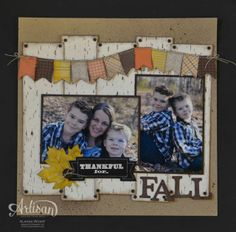 10/16/2013 Artisan Wednesday Wow ~ Thankful for Fall   Paper: Crumb Cake (12×12), Whisper White, Sweater Weather DSP, Early Espresso Coredinations Cardstock; Stamps & Ink: Thankful, Versamark, Early Espresso Classic Ink, Early Espresso Reinker; Accessories: Thankful Tablescape Simply Created Kit, White Emboss Powder, Heat tool, Distressing Tool, Stamping Sponges, Bigz Alphabet Typset, Vintage Trinkets, Spritzer Bottles, Naturals Buttons