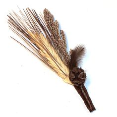 brown rustic natural boutonniere
